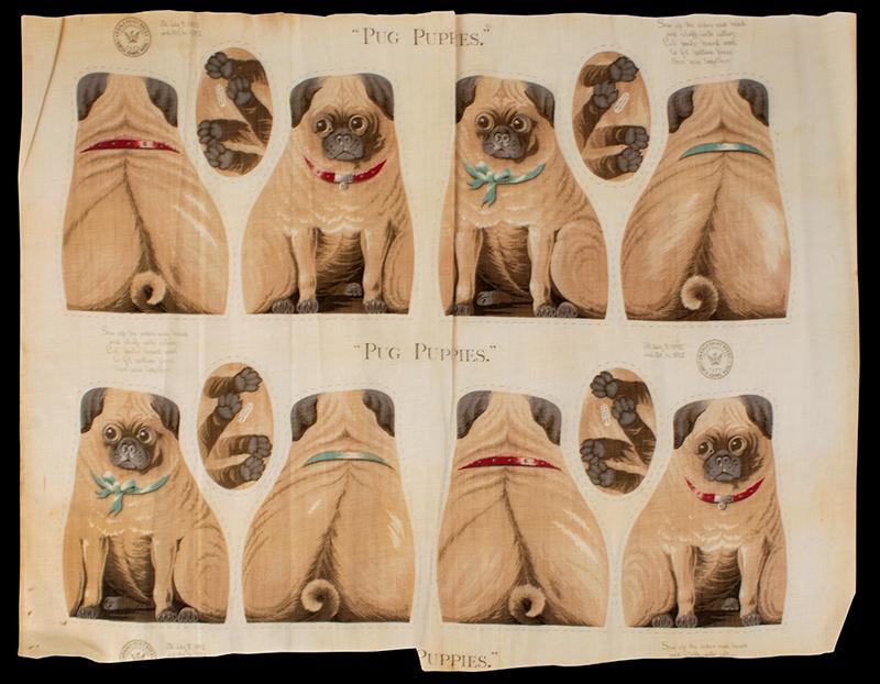 Arnold Print Works Uncut Pillow Panels, Tabby's Kittens & Pug Puppies Rare Cutout Patterns, c. 1892 North Adams, Massachusetts, pugs view