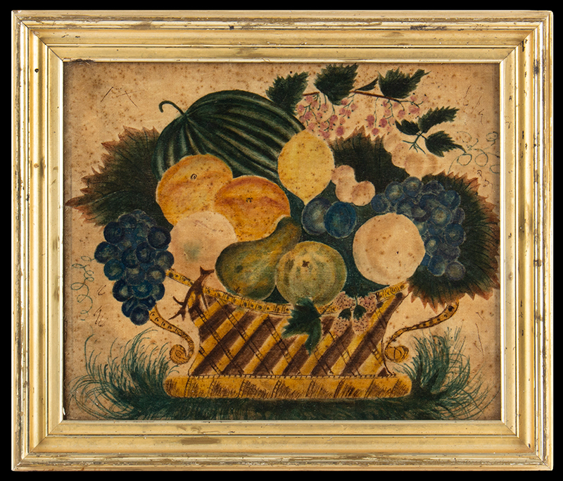 Theorem Still Life, Watercolor on Velvet, Fruits in Yellow Reticulated Basket