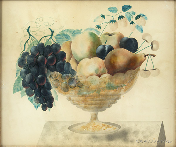 Antique Folk Art Watercolor, Theorem, Compote of Fruits, Circle of Emma Cady  Chatham, New York Area, circa 1880-1900 (Emma Caddy, 1854-1933) Opaque Watercolor, sans frame
