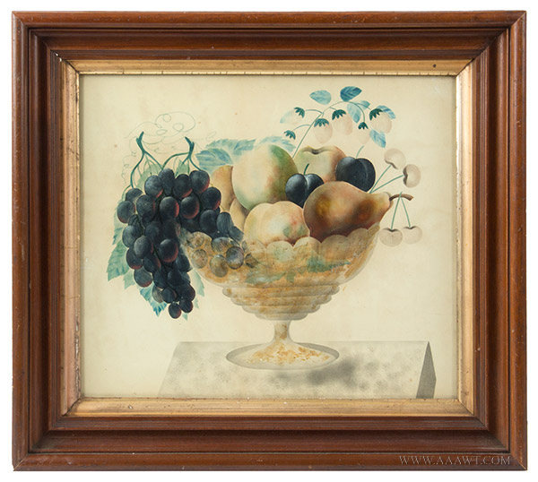 Antique Folk Art Watercolor, Theorem, Compote of Fruits, Circle of Emma Cady  Chatham, New York Area, circa 1880-1900 (Emma Caddy, 1854-1933) Opaque Watercolor, entire view