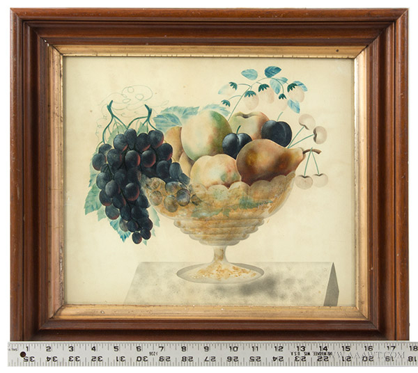 Antique Folk Art Watercolor, Theorem, Compote of Fruits, Circle of Emma Cady  Chatham, New York Area, circa 1880-1900 (Emma Caddy, 1854-1933) Opaque Watercolor, scale view