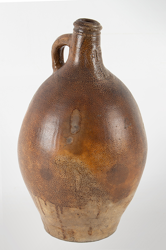 Antique Brown Salt Glazed Stoneware Ovoid Jug, Bellarmine Graybeard, Tiger Ware  Germany, 17th Century A massive example standing at 17-inches; beautifully tooled spout, ribbed handle, entire view 1