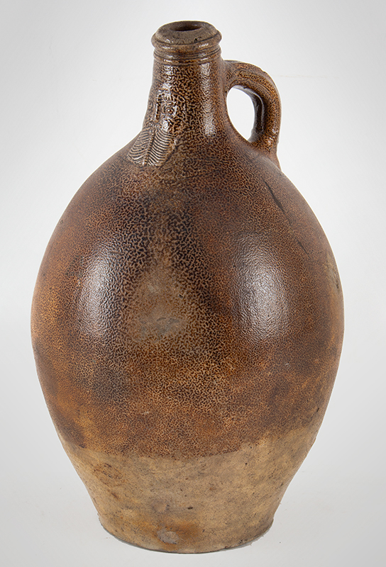 Antique Brown Salt Glazed Stoneware Ovoid Jug, Bellarmine Graybeard, Tiger Ware  Germany, 17th Century A massive example standing at 17-inches; beautifully tooled spout, ribbed handle, entire view 2