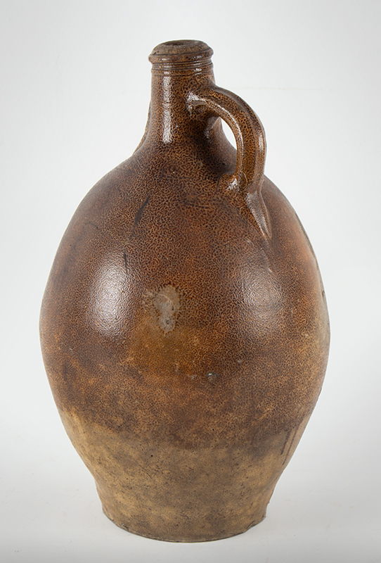 Antique Brown Salt Glazed Stoneware Ovoid Jug, Bellarmine Graybeard, Tiger Ware  Germany, 17th Century A massive example standing at 17-inches; beautifully tooled spout, ribbed handle, entire view 3