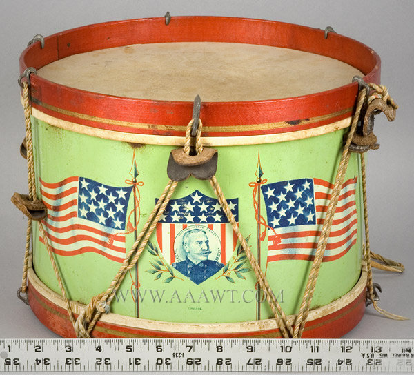 Drum, Lithographed Tin Drum, Portraits of Admiral Dewey, American Flags