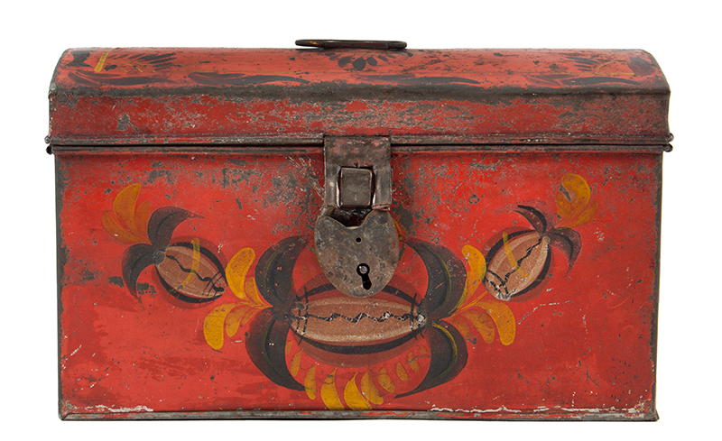 Antique, American Painted Tin Trunk, Tole Document Box, circa 1810-1820, entire view 1