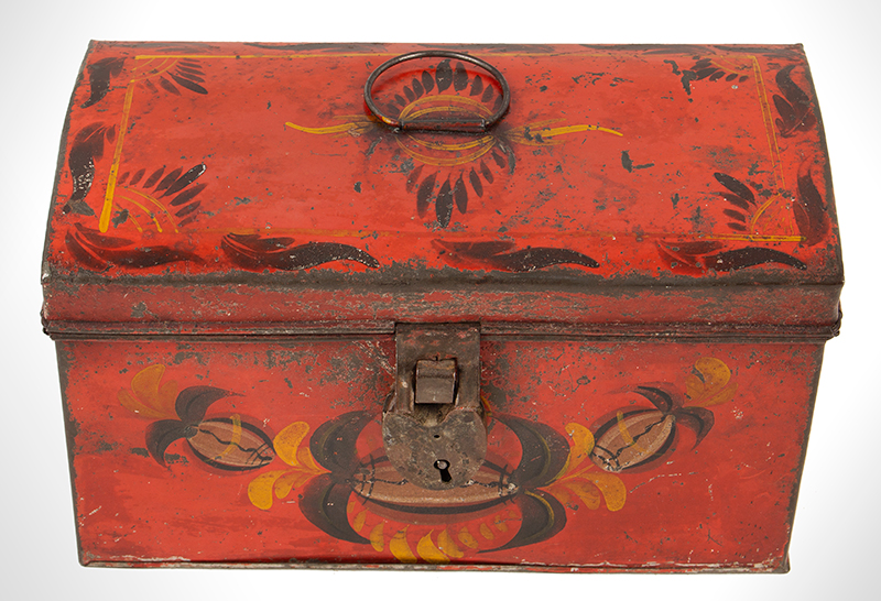 Antique, American Painted Tin Trunk, Tole Document Box, circa 1810-1820, entire view 2
