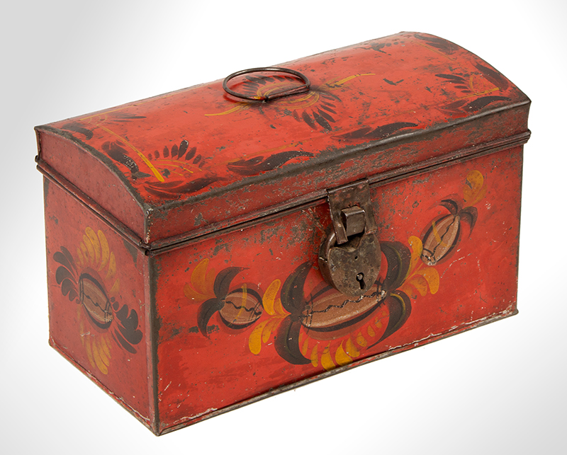 Antique, American Painted Tin Trunk, Tole Document Box, circa 1810-1820, entire view 3