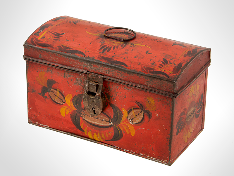 Antique, American Painted Tin Trunk, Tole Document Box, circa 1810-1820, entire view 4