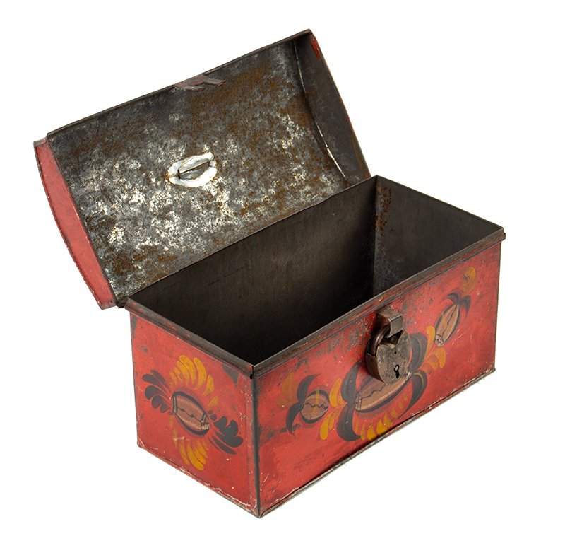 Antique, American Painted Tin Trunk, Tole Document Box, circa 1810-1820, entire view 5