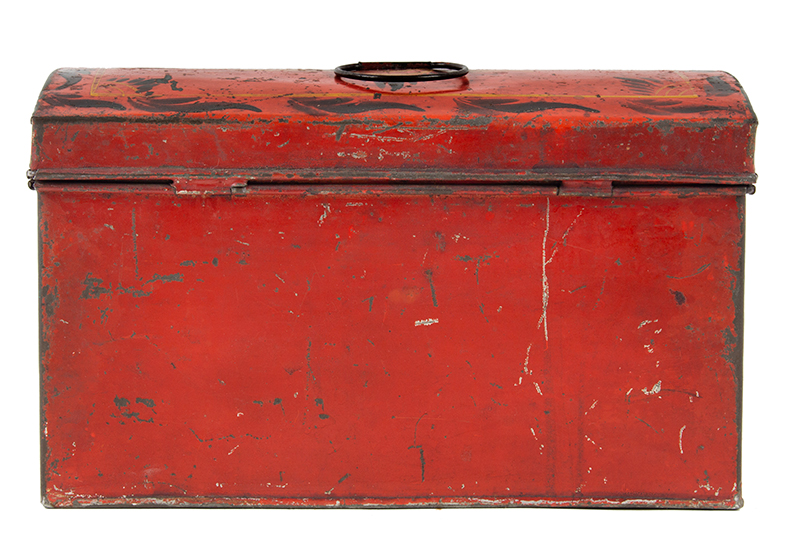Antique, American Painted Tin Trunk, Tole Document Box, circa 1810-1820, entire view 6