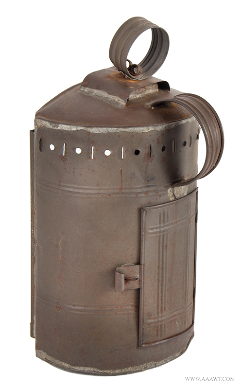 Lantern, Tin Candle Lantern, Dome Top, Glazed, Ribbed, Pierced & Chisel Cut New England, Early 19th Century, back view