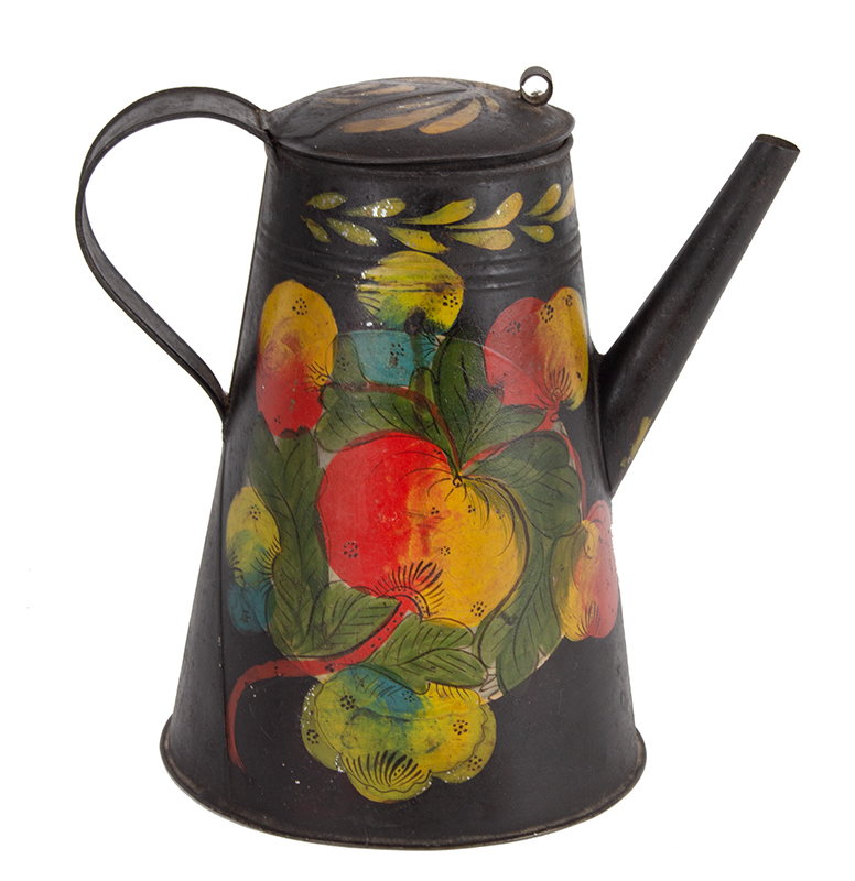 Outstanding Painted Tinware Coffeepot, Tole, Polychrome Floral Decoration, Straight Spout