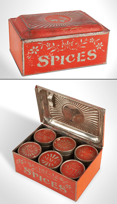 Tin Spice Box in Bittersweet Paint with 6 Original Tin Painted Containers, entire view