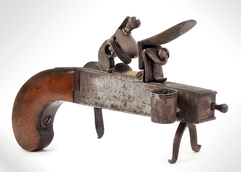 18th Century Tinder Lighter, Flintlock Pistol, Candle Socket Unknown Maker, Circa 1750-1800 Steel, Wood Grip, Candle Socket, Tinder Compartment, (Overall length: 7.25''), entire view 1