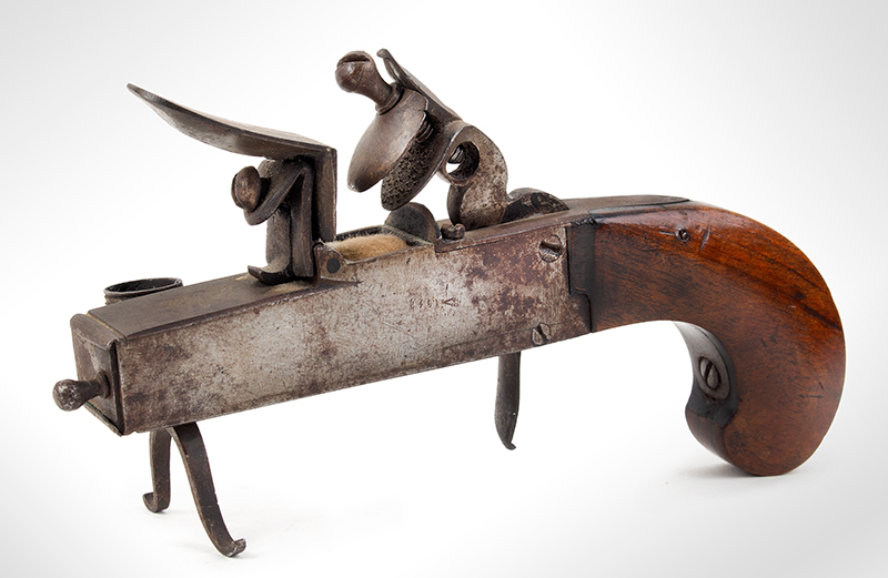 18th Century Tinder Lighter, Flintlock Pistol, Candle Socket Unknown Maker, Circa 1750-1800 Steel, Wood Grip, Candle Socket, Tinder Compartment, (Overall length: 7.25''), entire view 2