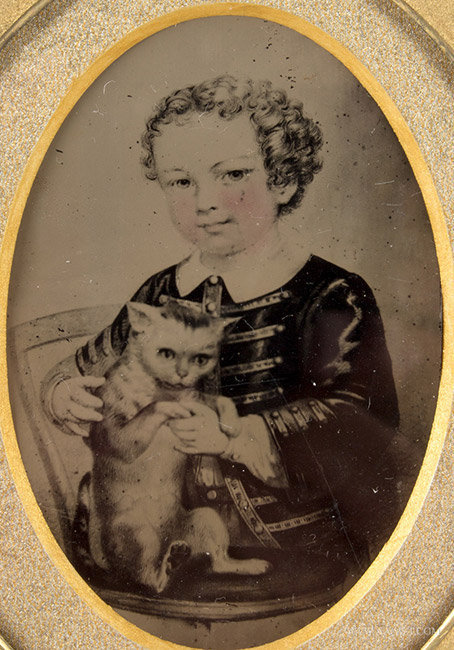 Tintype, Photograph of Painting, Girl with Cat, Sixth Plate, entire view