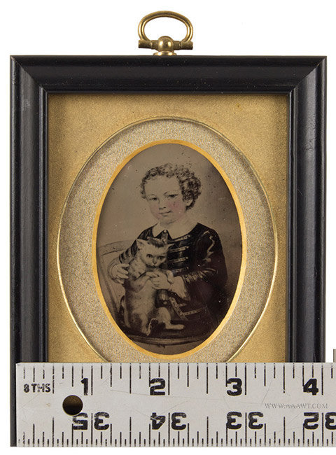 Tintype, Photograph of Painting, Girl with Cat, Sixth Plate, scale view