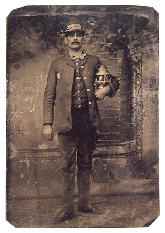 Antique Tintype, Railroad Man with Lantern, entire view