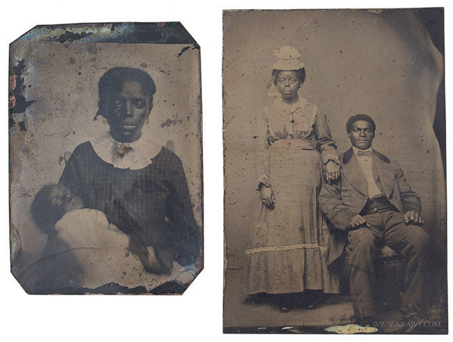 Two African American Tintype Portraits, One Postmortem