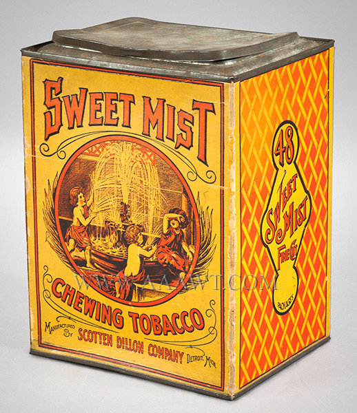 Sweet Mist Chewing Tobacco, Store Bin  Cardboard and Tin  Detroit, Michigan, Scotten Dillon Company  Circa 1920 to 1940, entire view