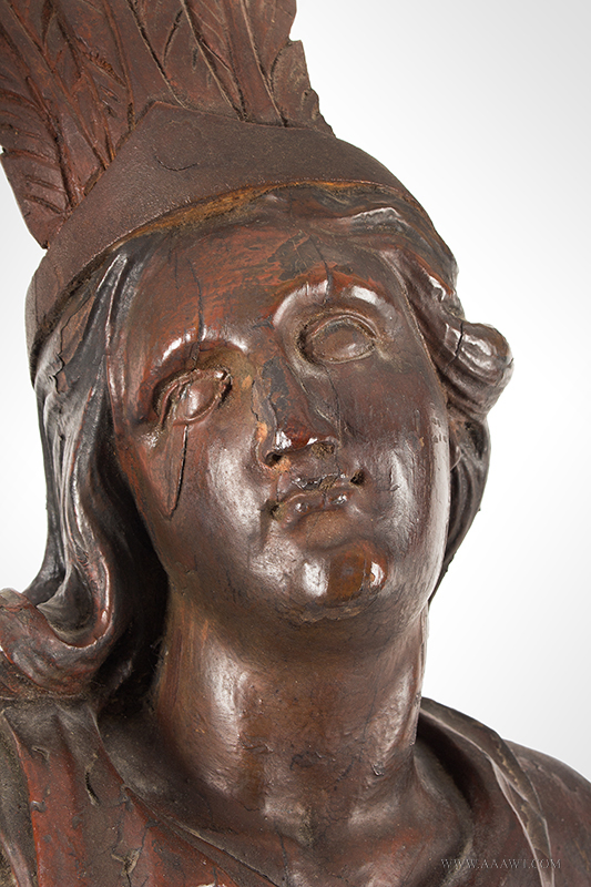 Cigar Store, Tobacconist Figure, Classical Pose, Carved and Paintedhead-detail-1