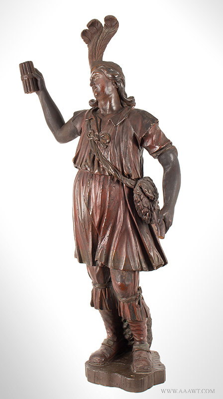 Cigar Store, Tobacconist Figure, Classical Pose, Carved and Paintedhead-half-length