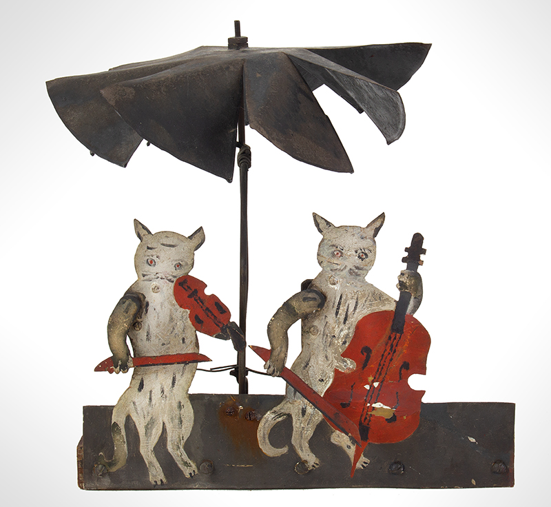 Folk Art Automaton, Cats Playing Violin & Cello, Original Paint Anonymous, 19th Century, entire view