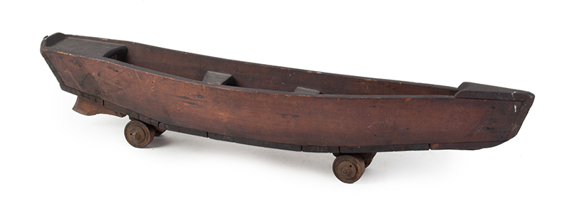 Antique Toy Rowboat on Roller Skate Wheels, Original Paint Unknown Maker, Wheels Marked Union Hardware, Torrington, Connecticut Possibly sailor made for a child at home…, entire view 1