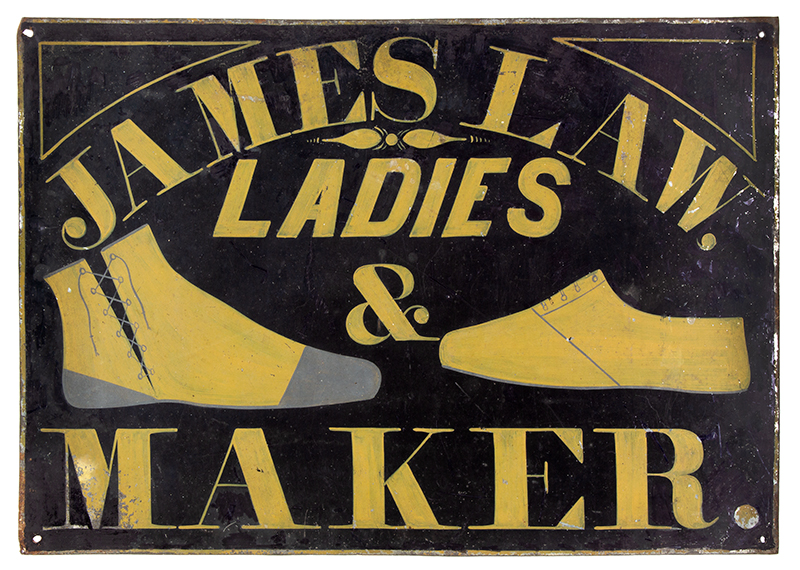 19th Century Trade Sign, Original Paint Unknown, circa 1880 Mustard & Gray Paint on Sheet Iron JAMES LAW / LADIES [boot] & [shoe] MAKER, entire view