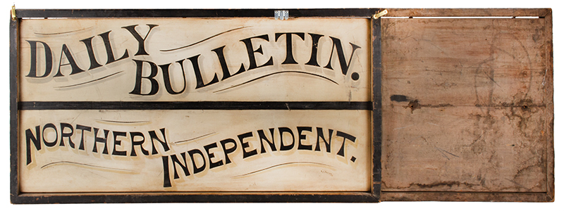 Trade Sign, Daily Bulletin – Northern Independent, Original Paint Outstanding Graphics 19th Century, Both Sides Lettered, Reverse for Cantilevered Mounting Daily Bulletin (Hazleton) (1879-1893) Possibly Pennsylvania, New Jersey, or Ohio?, entire view 2