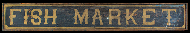 19th Century Trade Sign, FISH MARKET, Original Paint, entire view