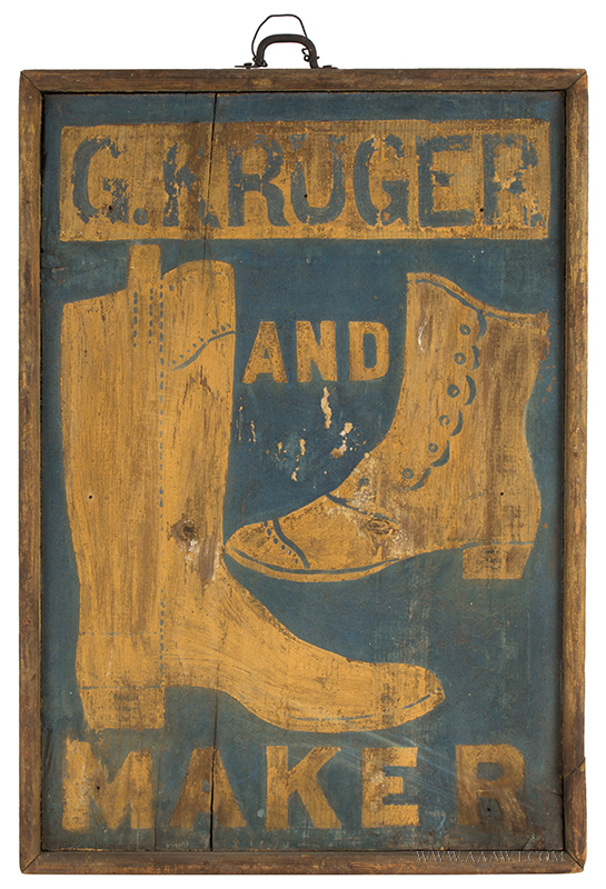 Trade Sign in Original Paint, Nice Small Size, G. Kruger Boot & Shoe Maker