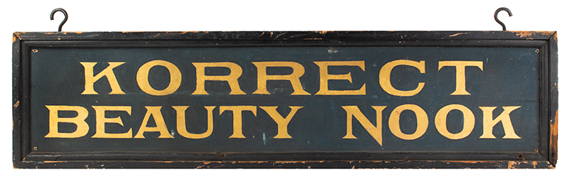 Antique Trade Sign, Korrect [sic] Beauty Nook, Blue Smalt & Gilt Anonymous, side 1 view