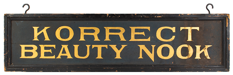 Antique Trade Sign, Korrect [sic] Beauty Nook, Blue Smalt & Gilt Anonymous, side 2 view