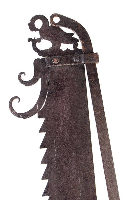 A Fine Large Antique Wrought & Incised Iron Trammel Likely Germany, 18th Century, detail view 1