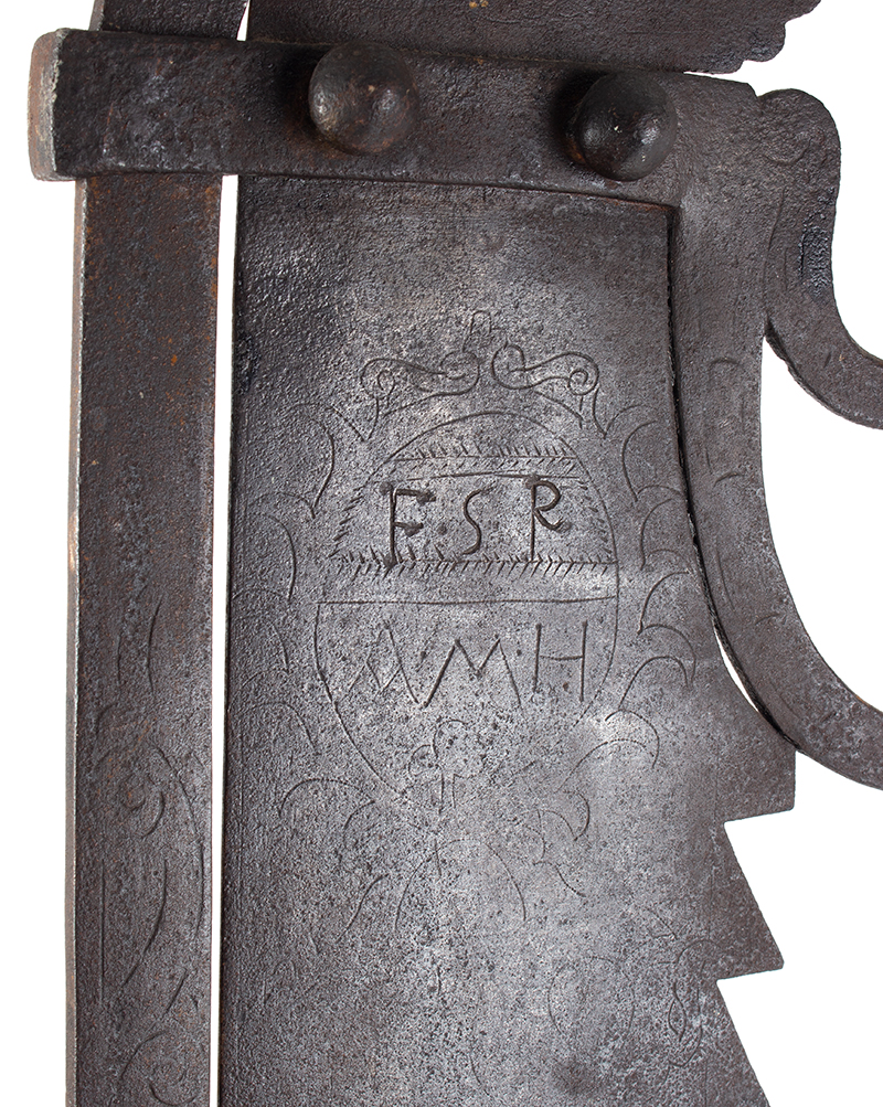 A Fine Large Antique Wrought & Incised Iron Trammel Likely Germany, 18th Century, detail view 4