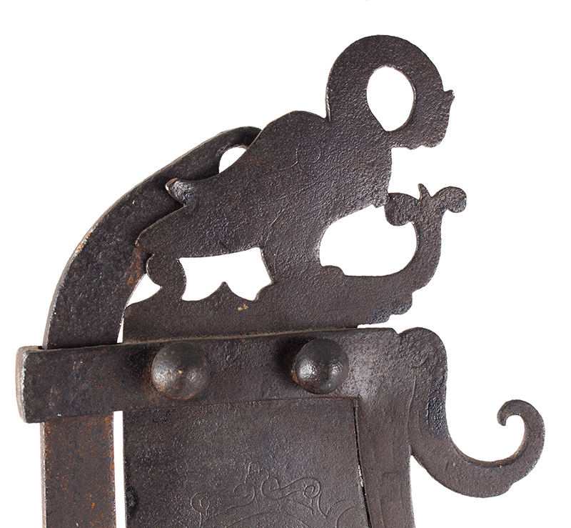 A Fine Large Antique Wrought & Incised Iron Trammel Likely Germany, 18th Century, detail view 5