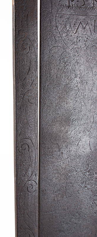 A Fine Large Antique Wrought & Incised Iron Trammel Likely Germany, 18th Century, detail view 6