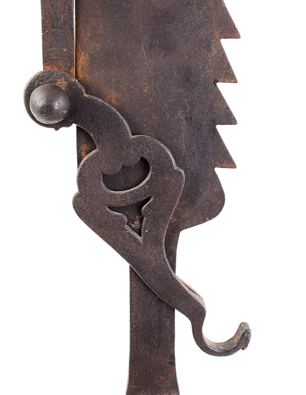 A Fine Large Antique Wrought & Incised Iron Trammel Likely Germany, 18th Century, detail view 7