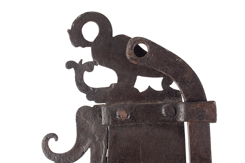 A Fine Large Antique Wrought & Incised Iron Trammel Likely Germany, 18th Century, entire view