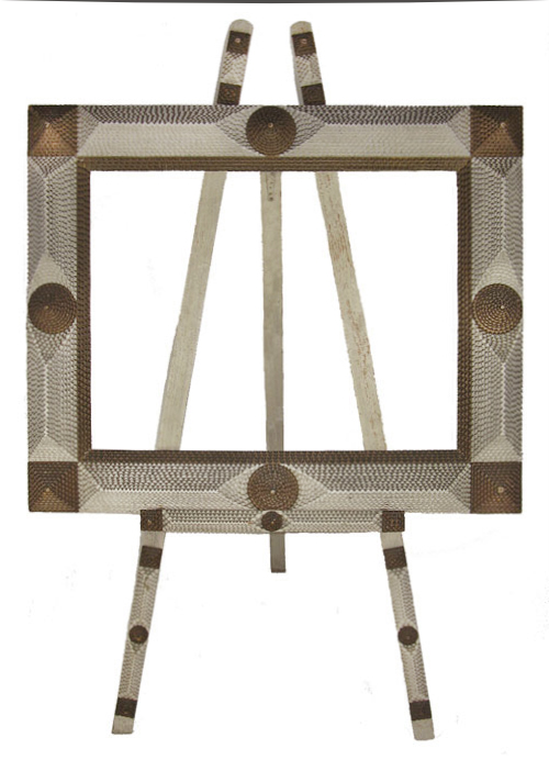 Antique Tramp Art Picture Frame and Matching Easel, Original Paint Unknown Maker, Circa 1900, frame and easel entire view