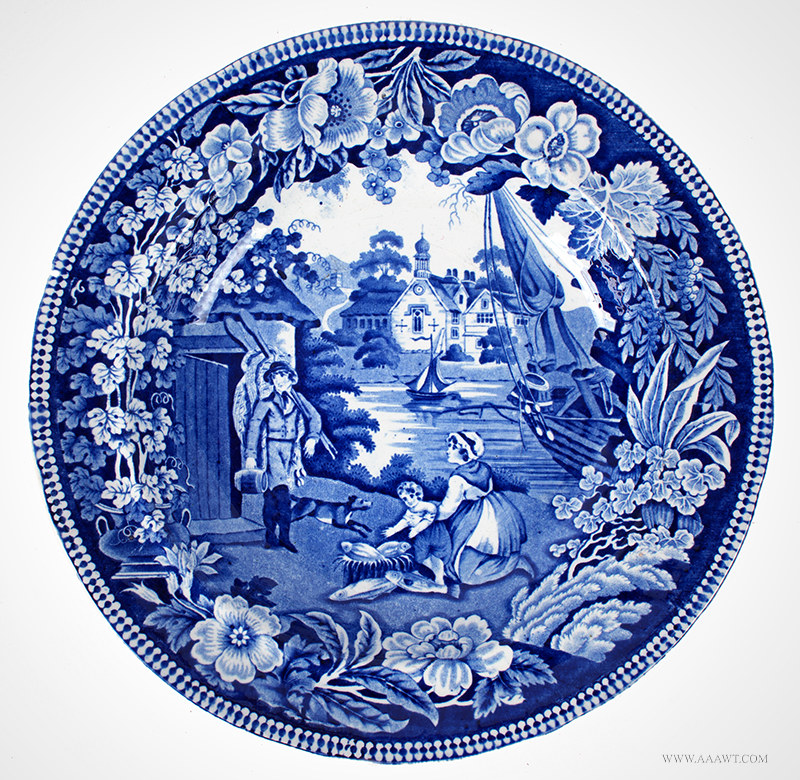 Fisherman's Hut Transferware Dinner Plate Unknown American maker, circa 1825 – 1835, entire view