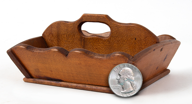 Vintage, Miniature Cutlery Tray New England, Circa 1900 Maple, scale view