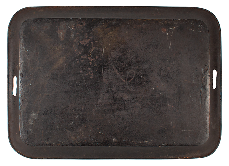 Antique Tole Tray, Rectangular Waiter, Stenciled & Painted, Powders and Gilding Unknown maker, circa 1825-1850, back view