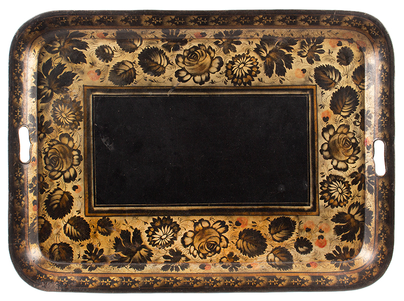 Antique Tole Tray, Rectangular Waiter, Stenciled & Painted, Powders and Gilding Unknown maker, circa 1825-1850, entire view