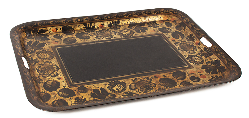 Antique Tole Tray, Rectangular Waiter, Stenciled & Painted, Powders and Gilding Unknown maker, circa 1825-1850, angle view