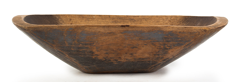 Antique Trencher, Carved & Painted Chopping Bowl New England, Circa 1830 The exterior retaining 70% original blue paint, entire view 1
