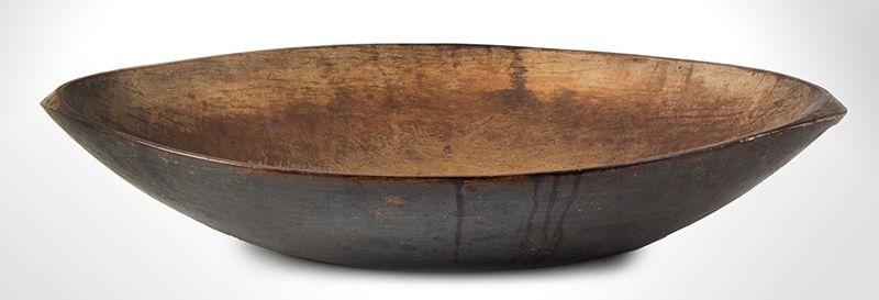 Antique, Large Elegant Oval Chopping Bowl, Handles, Original Paint New England, circa 1840 Maple, original paint, interior displays traces of oyster white, great tool marks, entire view 1