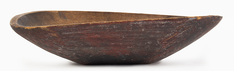 Antique Trencher, Carved & Painted Chopping Bowl New England, Circa 1800-1830 Potato Chip Rim Traces of highly oxidized green over original red paint, entire view 1